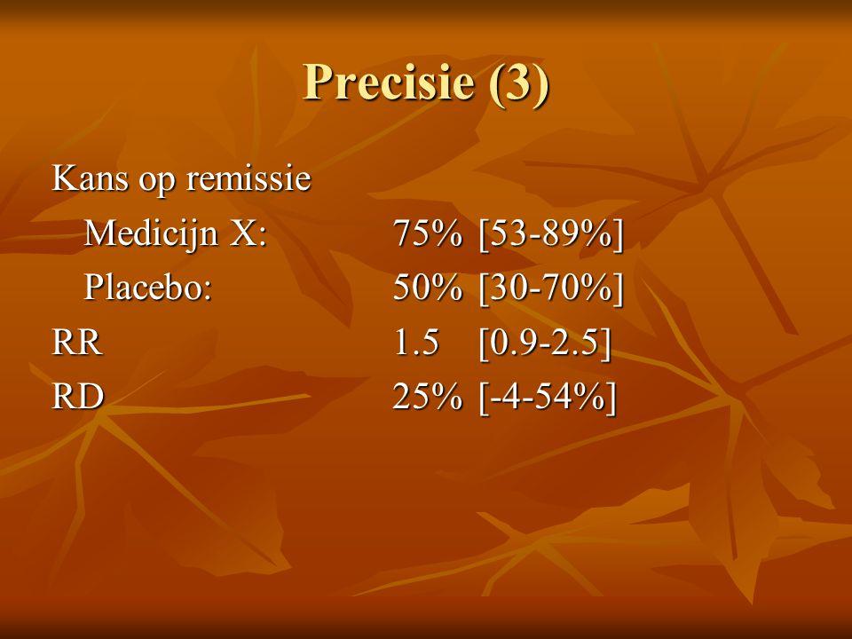 Precisie (3) Kans op remissie Medicijn X: 75% [53-89%]